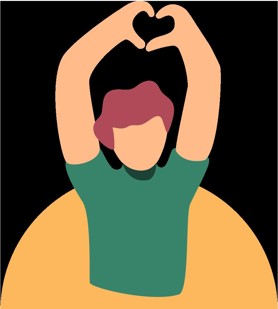 Um homem vestindo uma camisa verde, segurando os braços acima da cabeça e fazendo um formato de coração com as mãos